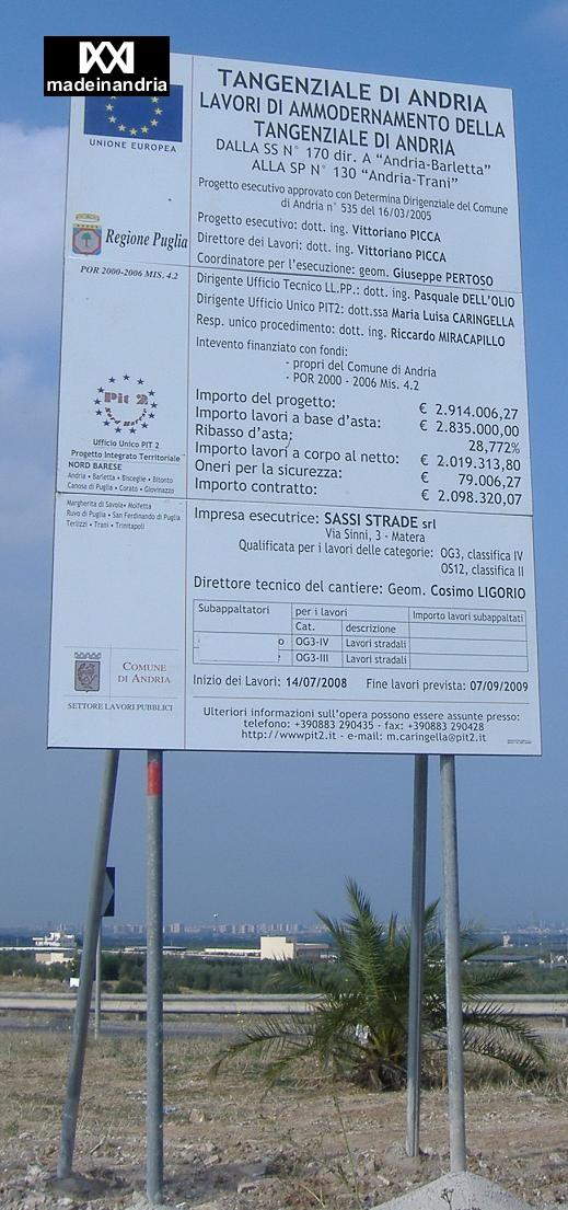 cartello lavori tangenziale