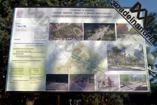 Cartellone lavori Villa Comunale Andria