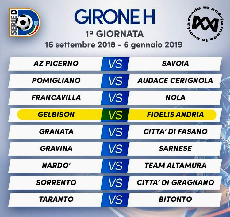 Serie D, il calendario del girone H stagione 2018-2019