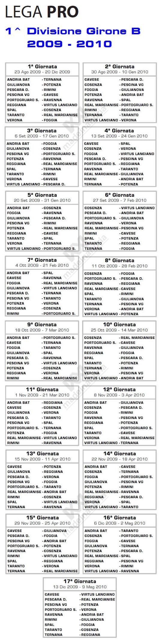 Calendario di Prima Divisione Girone B stagione calcistica 2009-2010