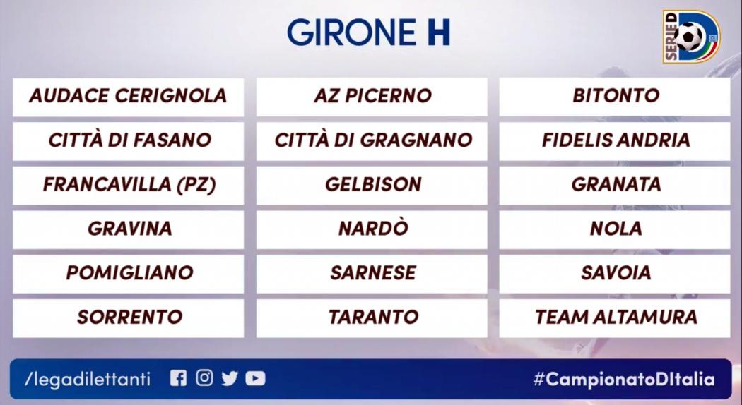 Gironi Serie D: Fidelis Andria nel raggruppamento